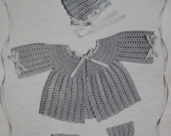 PDF 1950's Vintage Crochet Patterns Infants to 6 Months Sweater, Bonnet, Booties 105