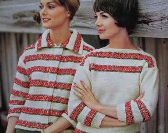 1960's Vintage Knitting PDF Patterns 2 Women's Sweaters 747-7, 747-8 pdf file