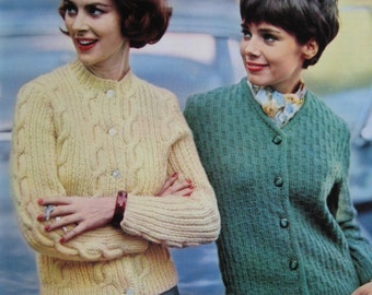1960's Vintage Knitting Patterns PDF Women's Cardigan Sweaters 747-25, 747-26