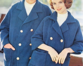 1960's Vintage Knitting PDF Patterns His and Hers Pea Jackets 747-27, 747-28 pdf file
