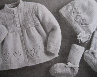 Vintage Knit Baby Patterns Sweater Bonnet Booties Heart Pattern Set PDF Pattern P111c