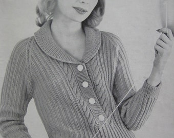 1960's Vintage Knitting PDF Pattern Women's Sweater 736-5