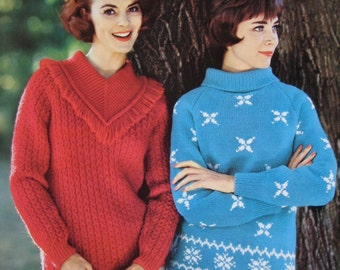 1960's Vintage Knitting PDF Patterns 2 Pullover Women's Sweaters 747-5, 747-6