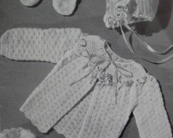 Vintage Baby Crochet Patterns Infant Sweater Bonnet Booties Mittens Set 170c PDF Pattern