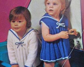 1960's Vintage Knitting Patterns Baby Sailor Dresses PDF Pattern B-697