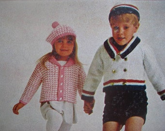 Vintage Knitting PDF Patterns Toddler and Children's Sweater and Hat Sets 220b