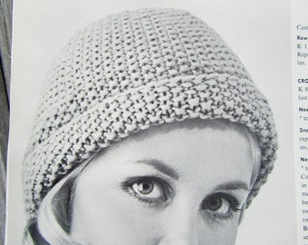 Knitted Hat Pattern, 1960's Vintage Pattern PDF Pattern 1416