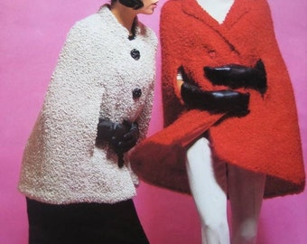 1960's Vintage Knitting PDF Patterns Women's Capes and Hat 1798-119, 1802-119