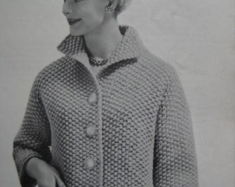 1960's Vintage Knitting Pattern Women's Sweater Jacket 6407 PDF Patterns