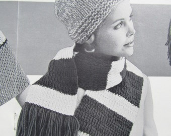 Knitted Hat Pattern, Knitted Scarf PDF Pattern - Ladies' Knit Hat and Striped Knit Scarf 1411, 1421