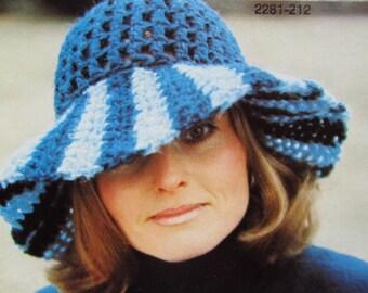 Crochet Hat Pattern - Ladies' Vintage PDF Pattern, Crochet Hat with Wide Brim 2281-212