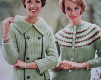 Knit Sweater PDF Patterns - 1960's Vintage Patterns 2 Women's Knit Sweaters 747-13, 747-14 pdf file