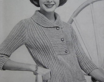 Knit Sweater Pattern - Vintage Pattern, 1960's Ladies' Knitted Sweater PDF Pattern 733-20