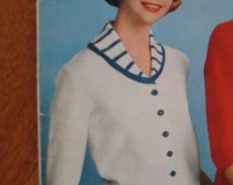 Knit Sweater Pattern - 1960's Vintage Pattern, Ladies' Cardigan Sweater Pattern 733-1