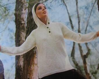 Knitted Hooded, Hoodie Sweater Pattern - 1960's Vintage PDF Pattern, Ladies' Hooded Sweater 1605