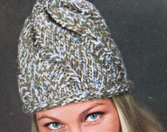 1960's Vintage Knitting PDF Pattern Women's Pom Pom Hat 2155-165