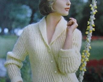 Knit Sweater Pattern - 1960's Vintage Pattern PDF Women's Sweater 2813