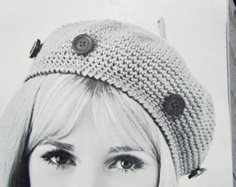Crochet Hat Pattern - 1960's Vintage Pattern PDF for Crocheted Beret 1405