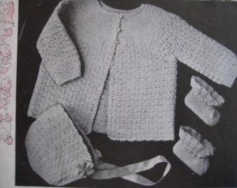 1949 Vintage Crochet Baby Set PDF Patterns Sweater Bonnet Booties 6714