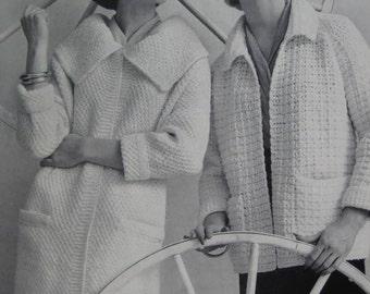 1960's Knit Sweater Coat Pattern, Crochet Coat PDF Pattern - Vintage Patterns 733-28, 733-29