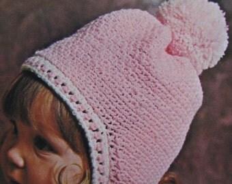 Vintage Crochet PDF Pattern Baby, Toddler, Children's Hat with Pom Pom 868