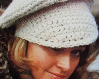 Crochet Hat Pattern - Vintage Pattern, Crochet Newsboy Cap Hat PDF Pattern 2279-212