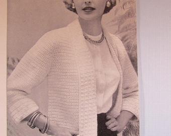 Crochet Sweater Pattern - 1950's Vintage Pattern, Women's Crochet Sweater KIY4 PDF Pattern