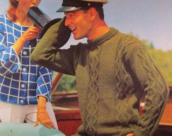 1960's Knitting PDF Patterns, Vintage Pattern Men's Sweater 604S