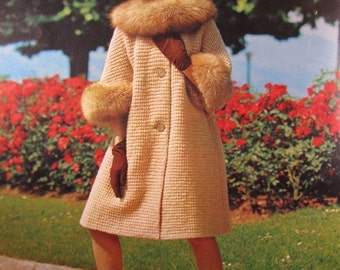 1960's Knitting Patterns, Vintage PDF Pattern Women's Sweater Coat 608S