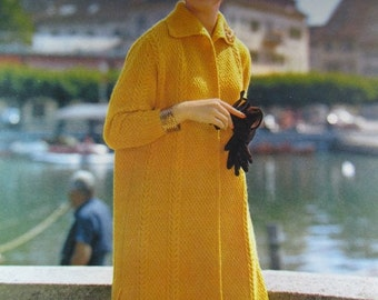 1960's Knitting Patterns, Vintage PDF Pattern Women's Sweater Coat 609S