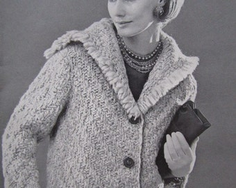 1960's Knitting Patterns PDF, Vintage Pattern Women's Sweater Coat Pattern 6702