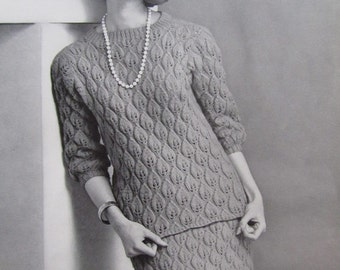 1960's Knitting Patterns, Vintage Pattern PDF Women's Sweater and Skirt Set 6713