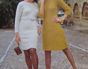 1960's Knitting PDF Patterns, Vintage Pattern Women's Knit Dress Patterns 1102, 1001