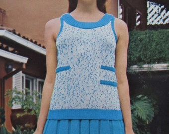 1960's Knitting Patterns, Vintage PDF Pattern Women's Knit Sweater and Skirt Patterns 1103