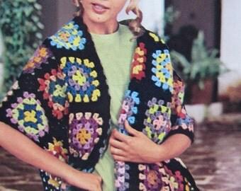 1960's Knitting Pattern, Vintage PDF Pattern Women's Crochet Shawl Pattern 1123