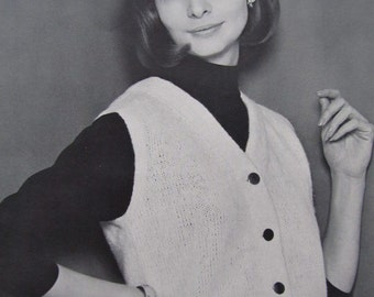 1960's Knitting Patterns, Vintage Patterns, Women's Knit Sweater Vest Pattern 8307 PDF Pattern