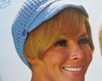 Knit Hat Pattern - Ladies' Vintage Pattern, Hat with Wide Brim PDF Pattern 118f