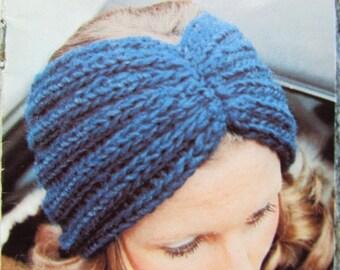Knitted Earwarmer Pattern, Knit Headband Pattern - Vintage Pattern PDF 2285-212