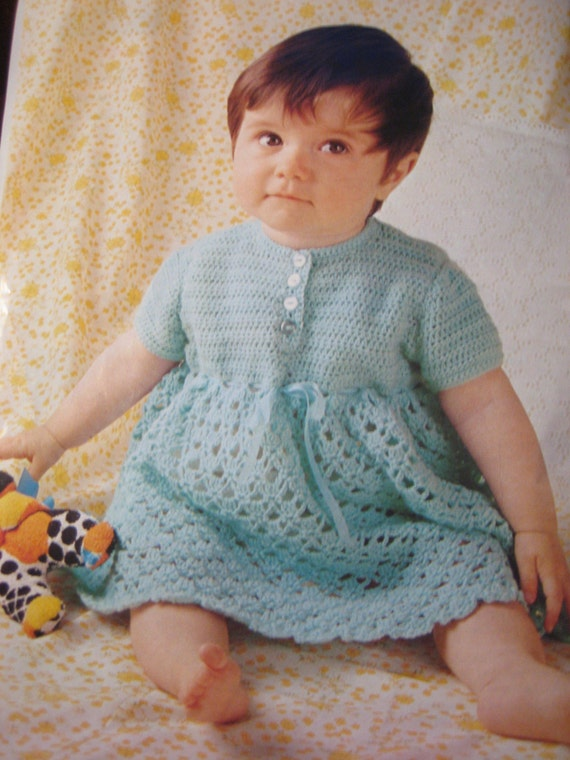 Vintage Crochet Baby Dress Pattern : Vintage Crochet PDF Baby Dress Pattern P176b