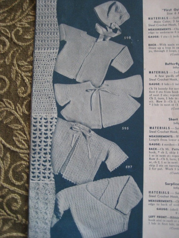 Baby Crochet Patterns - 1940's Vintage Patterns, Baby Sweater Patterns and 1 Matching Hat 598, 595, 597, 596