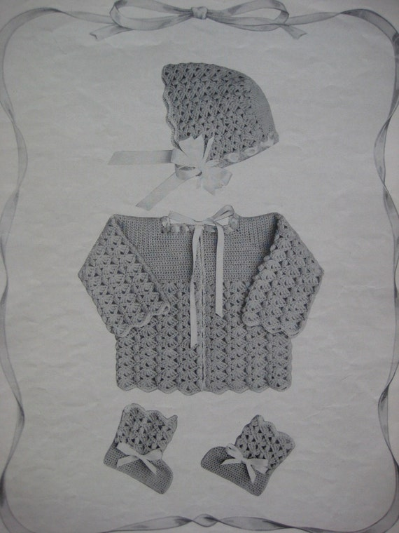 Baby Crochet Patterns - 1950's Vintage Patterns PDF, Infants to 6 Months Sweater, Bonnet, Booties 103