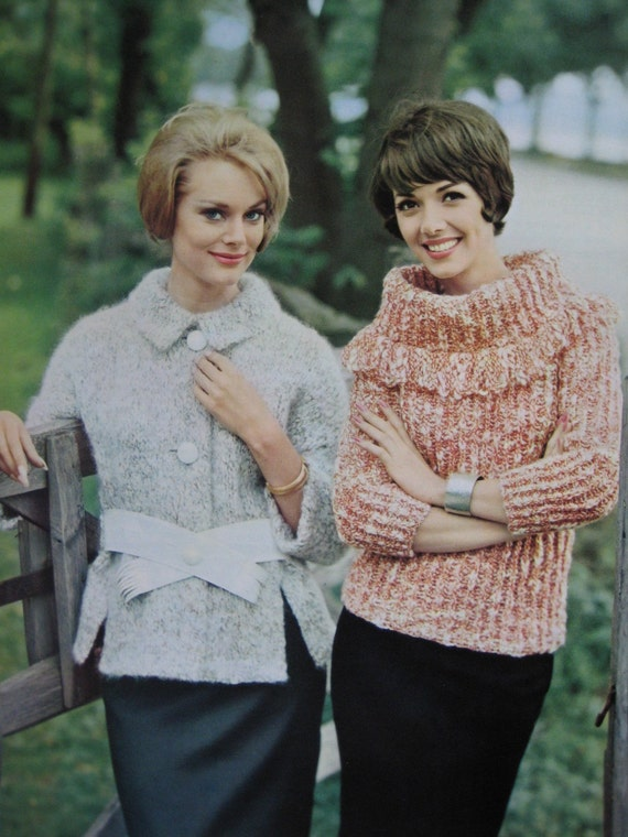 1960's Vintage Knitting Patterns Women's Jacket and Pullover 747-23, 747-24 PDF Pattern