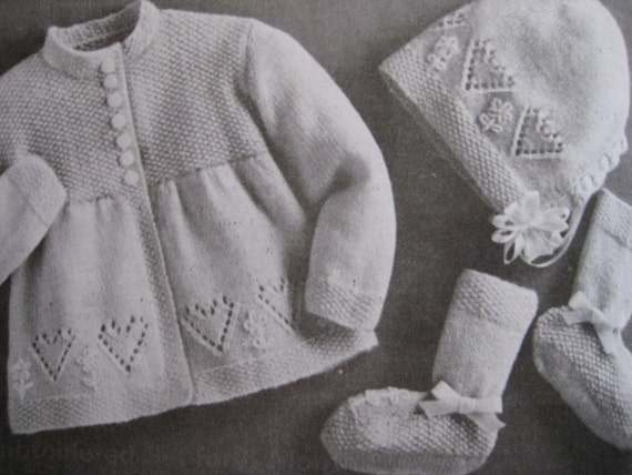 Vintage Knit Baby Patterns Sweater Bonnet Booties Heart Pattern Set PDF Pattern P111c