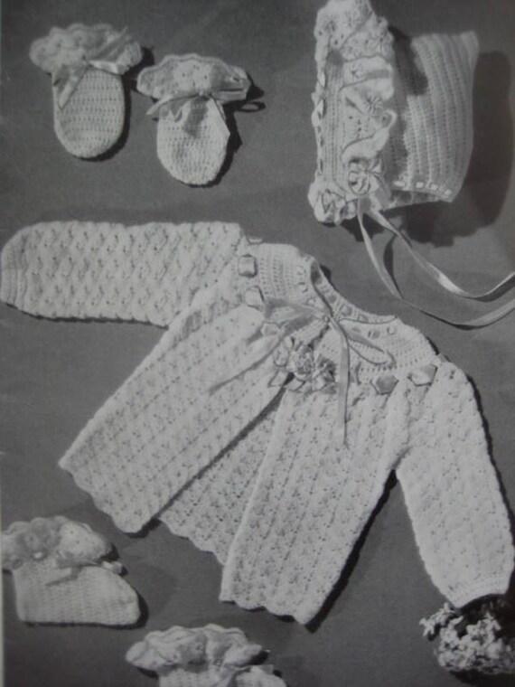Vintage Baby Crochet Patterns Infant Sweater Bonnet Booties