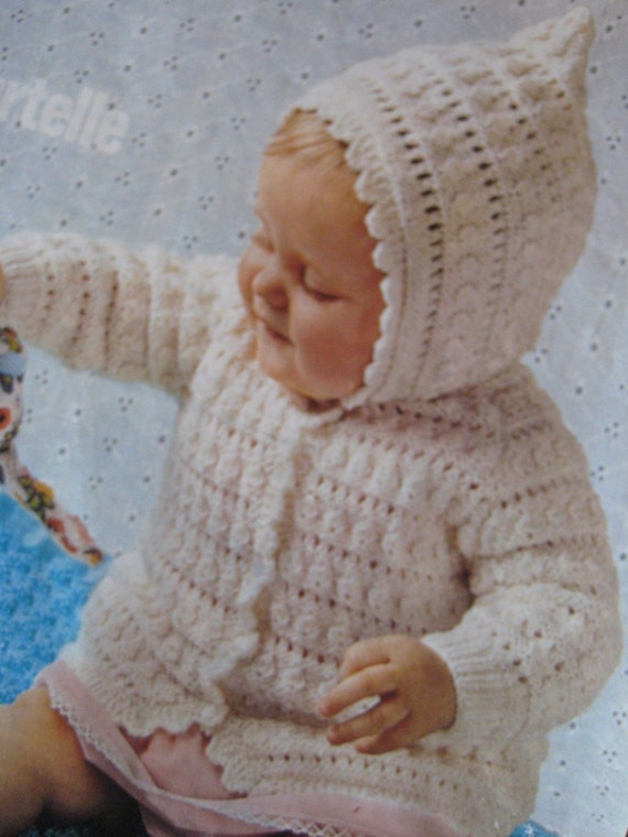 Vintage Knit Baby Hoodie and Blanket PDF Patterns P176k