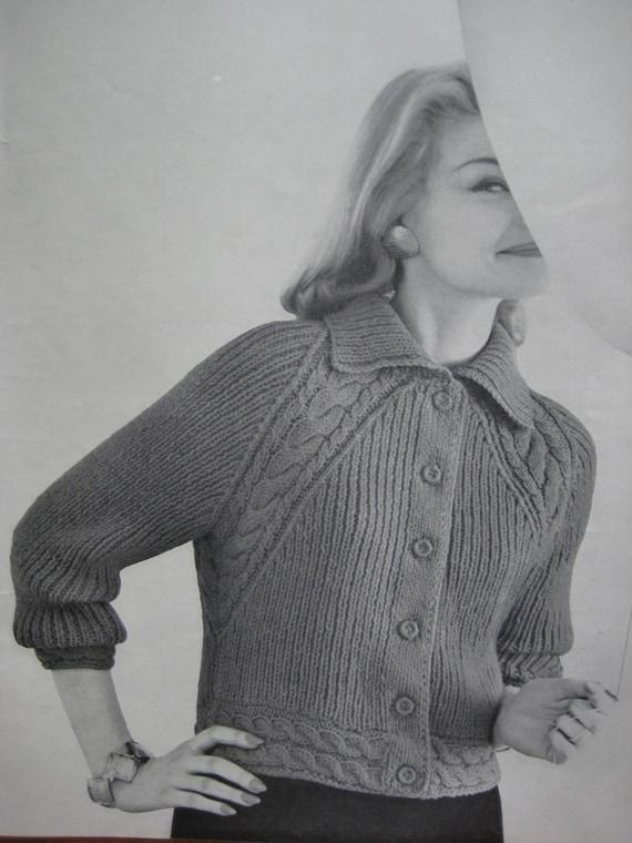 1960's Vintage Knitting Pattern Women's Raglan Cable Jacket pdf file 736-7