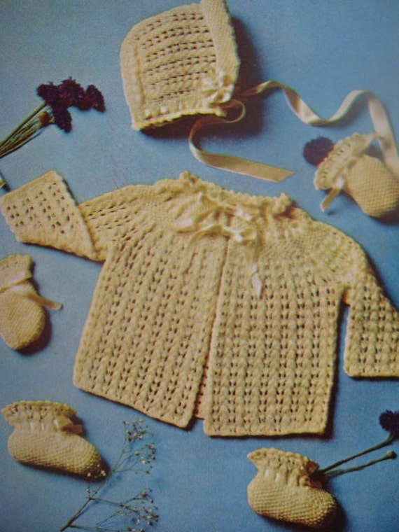 PDF Vintage Knitting Patterns Baby Sweater Bonnet Booties
