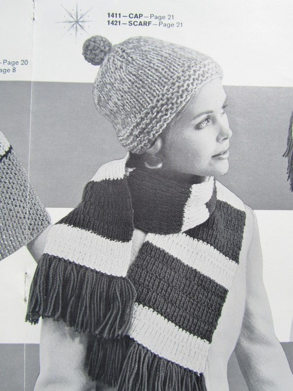 Knitting Pattern For Ladies Hat And Scarf : Knitted Hat Pattern Knitted Scarf PDF Pattern Ladies