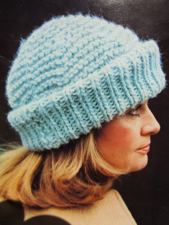 Knitted Hat PDF Pattern Vintage Pattern Ladies Knit Hat