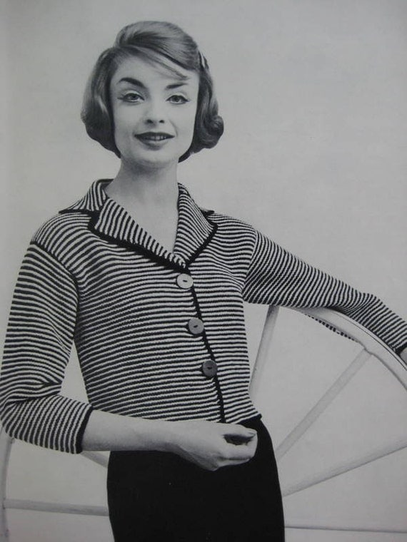 Knit Sweater Pattern - Vintage PDF Pattern, 1960's Ladies' Striped Knit Sweater Pattern 733-12